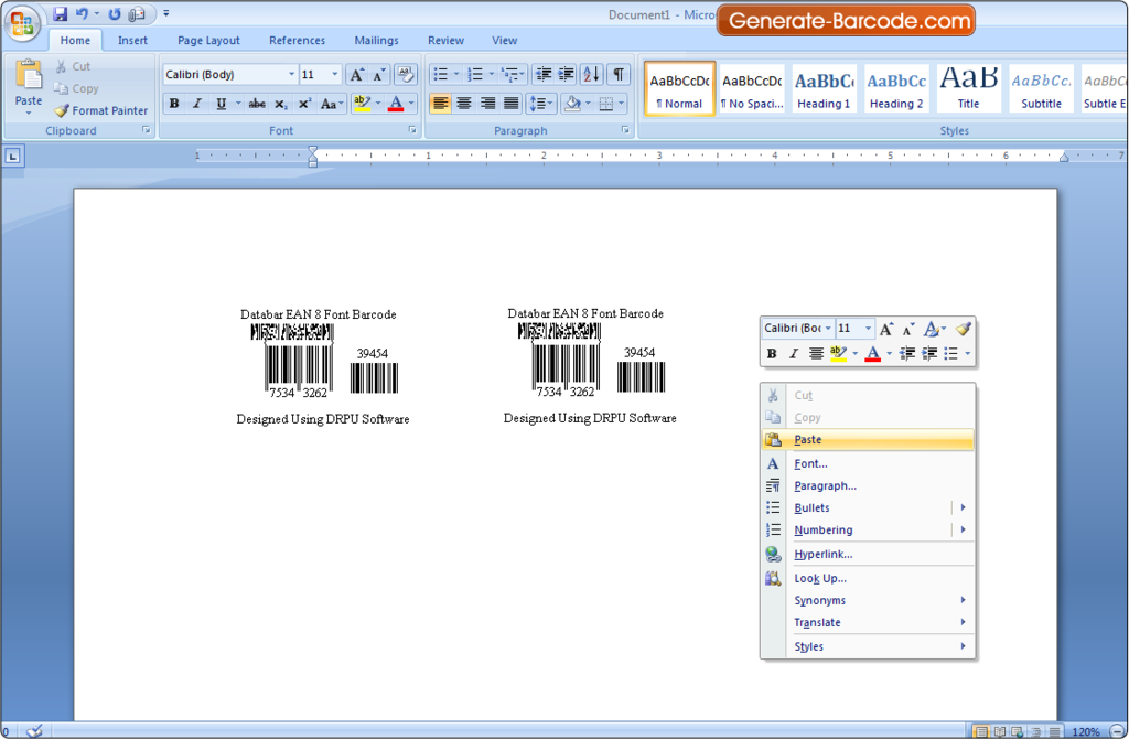 Barcode Maker Software: How to copy and paste barcode in MS