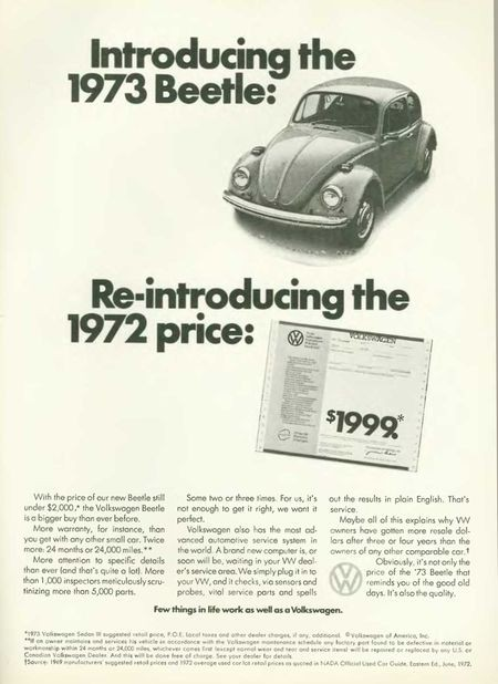 Introducing the 1973 Beetle: Re-introducing the 1972 price: