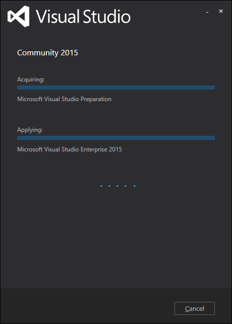 Visual Studio Community 2015 インストール中