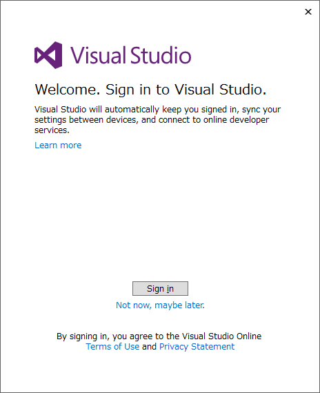 Visual Studio Community 2015 起動