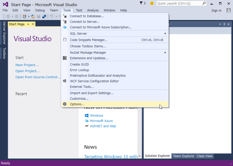 Visual Studio Community 2015 初期画面