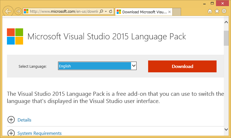 Visual Studio 2015 Language Pack Download