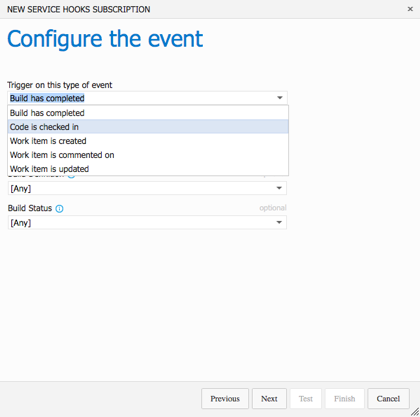 Web Hooks - Configure the Event