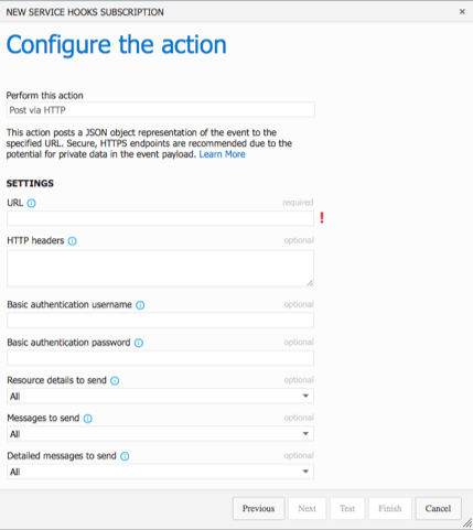 Web Hooks - Configure the action