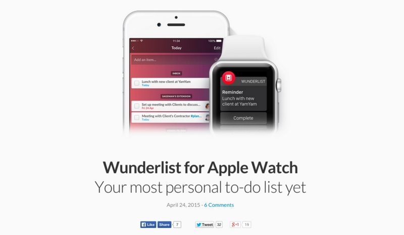 Apple Watchの「Wunderlist」