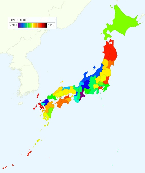 ranking of fat prefectures  bmi  body mass index  by