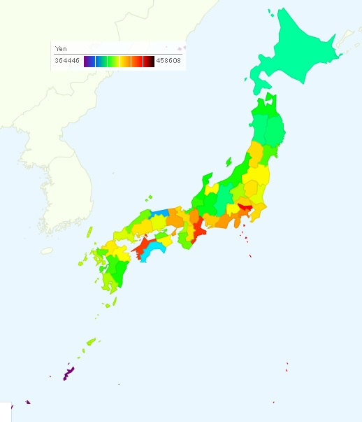 Average Monthly Salary of Local Government Workers in Japan