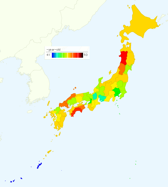 Map Of Japan With Prefectures.Average Age By Prefecture In Japan 2013 How Much Is It In Tokyo