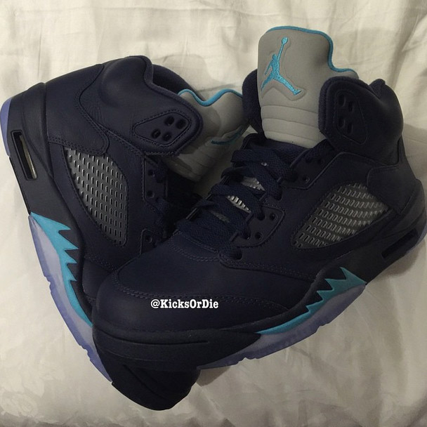Air Jordan 5 Retro Midnight Navy/Turquoise Blue-White