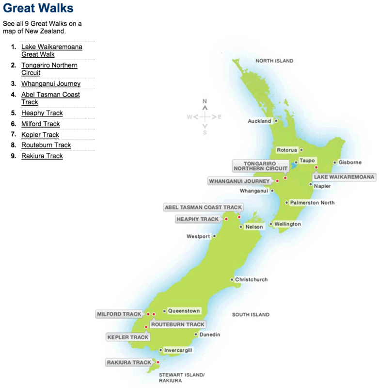 Map of New Zealand's 9 Great Walks