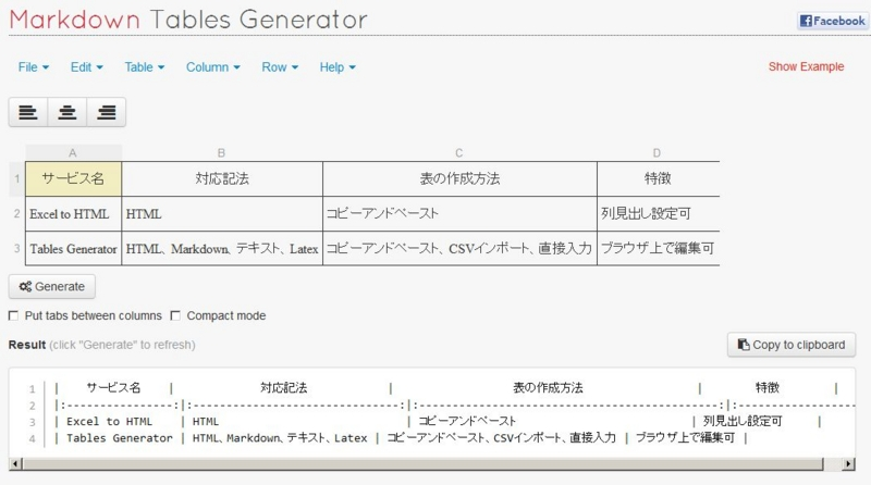 Tables generator excel markdown html for Table markdown