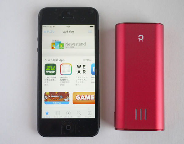 cheero Power Plus 2 mini 6000mAhと「iPhone 5」の大きさを比較