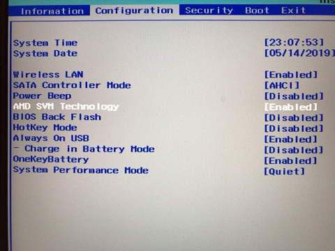 IdeaPad 530SのBIOS設定画面