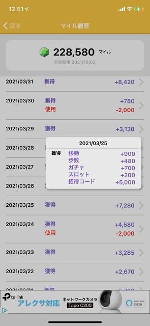 3月25日に招待コードが利用されました