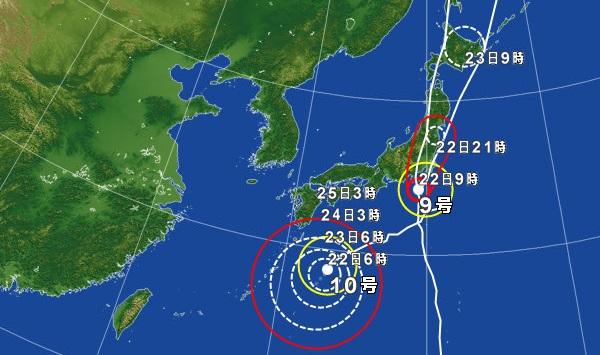 8月22日の台風の天気図