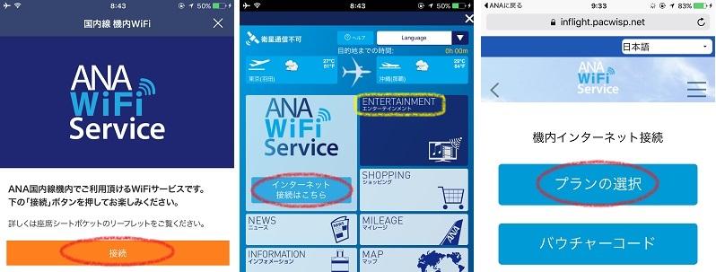 ANAのWiFiからインターネット接続画面