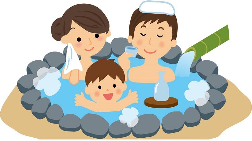 ゆっくりと温泉で過ごす家族