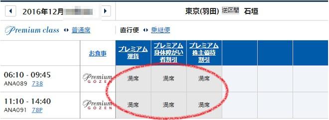 12月10日の羽田→石垣のプレミアムクラスの予約状況