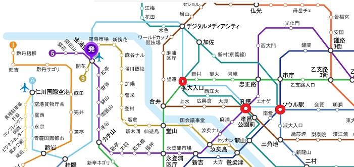 ソウル地下鉄と鉄道の路線図