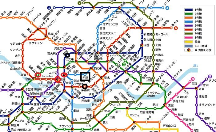 ソウル地下鉄の路線図