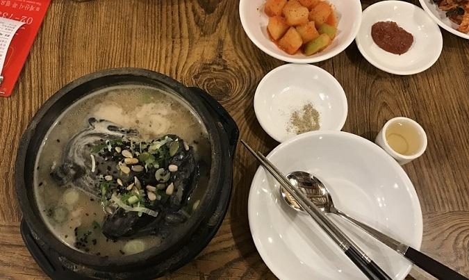 土俗村のサムゲタンの食べ方の絵