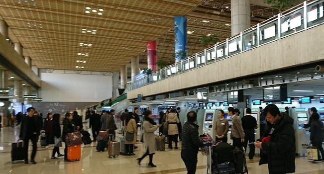 金浦空港の1階到着フロア