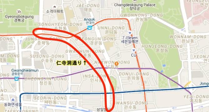 仁寺洞通りの地図