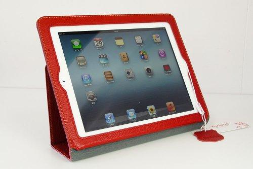 iPad2 iPad3(新しいiPad) iPad4(Retinaディスプレイモデル)対応 本革仕様 Executive レザーケース・レッド(マグネット内蔵、スタンド機能、オートスリープ機能付き)