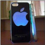 光る! iPhone5 専用ケース appleロゴ ハードカバー 着信があるとアップルマークが7色に光る ブラック