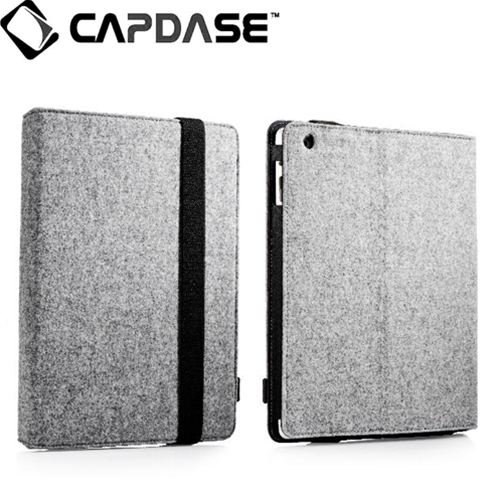 CAPDASE 日本正規品 iPad Retinaディスプレイモデル (第4世代) / iPad (第3世代) / iPad 2 対応 Protective Case FOLIO FELT, Grey / Black 3段階スタンド機能つき ブックタイプ フェルト張り PUレザーケース 「フォリオ・フェルト」(ドックコネクタ &イヤホンジャック キャップ つき) グレー/ブラック SLAPIPAD2-P6G1