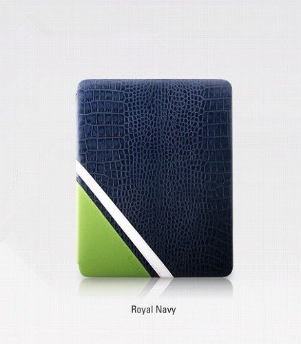 zenus Crocodile Sportism for the new ipad高級レザーカバー 上品な本革ケース スタンドタイプ 上品なワニ柄 オシャレ iPad ケース 新しいiPad(iPad3),iPad Retina(iPad4) カバー ロイヤルネイビー (並行輸入品)