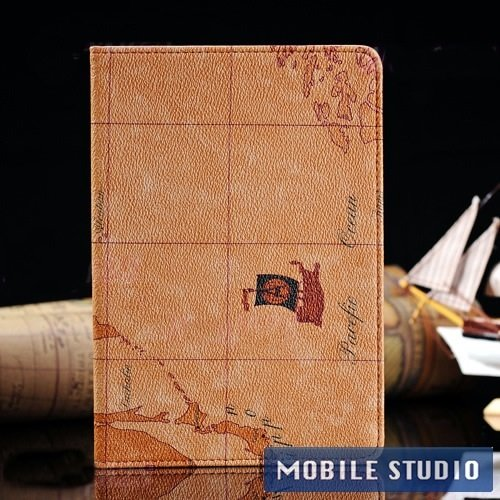 ●iPad mini レトロ 地図柄 PUレザー スタンド ケース ライトブラウン(うす茶色) [MOBILE STUDIO]