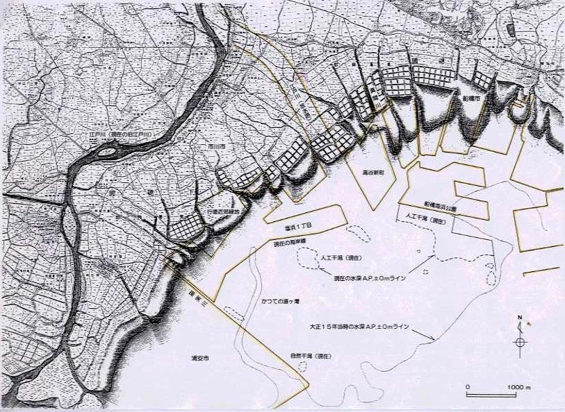 昔の浦安付近の海の地図(埋め立て前)
