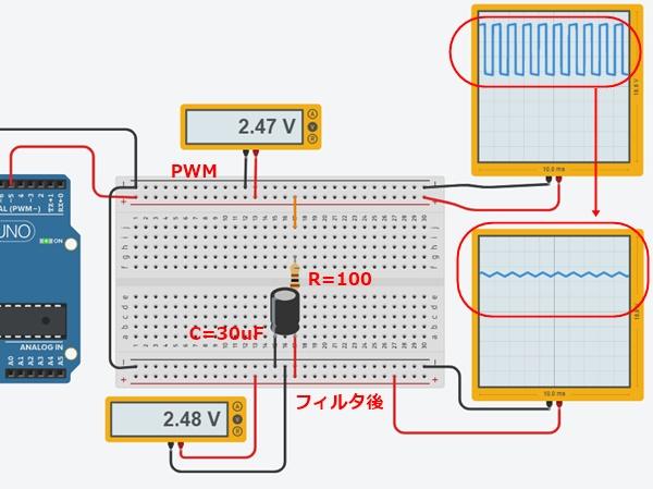 CRフィルタ1による中間電圧生成