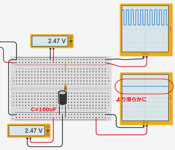 CRフィルタ2による中間電圧生成