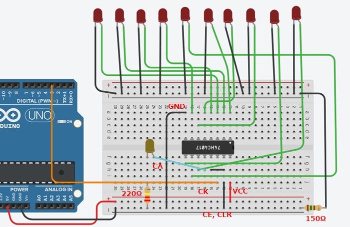 Arduinoと10進ジョンソンカウンタ接続