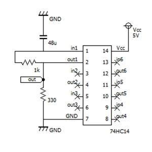 反転シュミットトリガによる発振回路