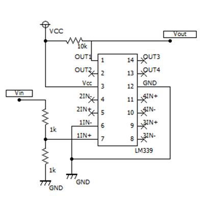 """""""LM339によるゼロクロス検出回路図"""""""