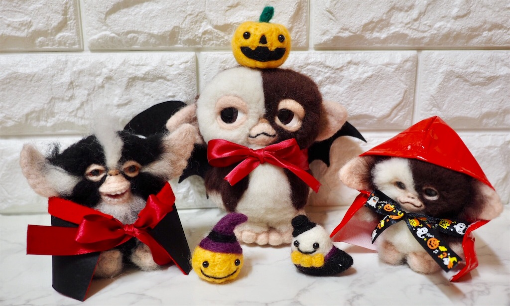 羊毛フェルトのギズモたちのハロウィン仮装
