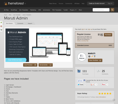 Site Templates - Maruti Admin | ThemeForest