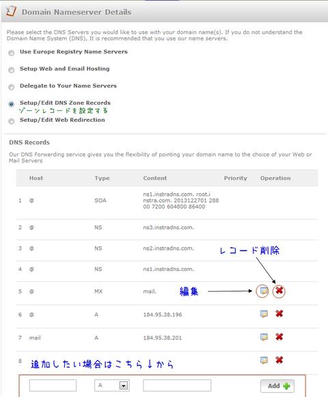 EuropeRegistryのDNSを使ってゾーンレコードを設定する
