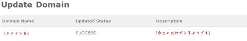 DNSで設定した内容の変更結果画面