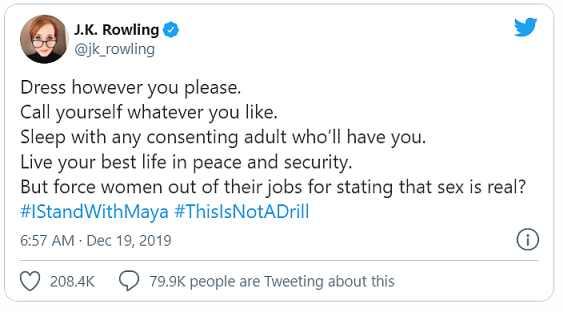 J・K・ローリング、炎上のきっかけツイート