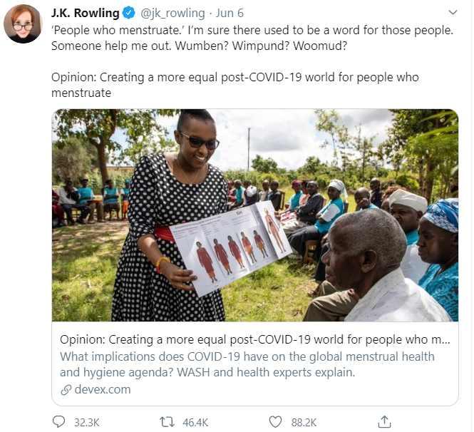 J・K・ローリングが再度炎上したツイート