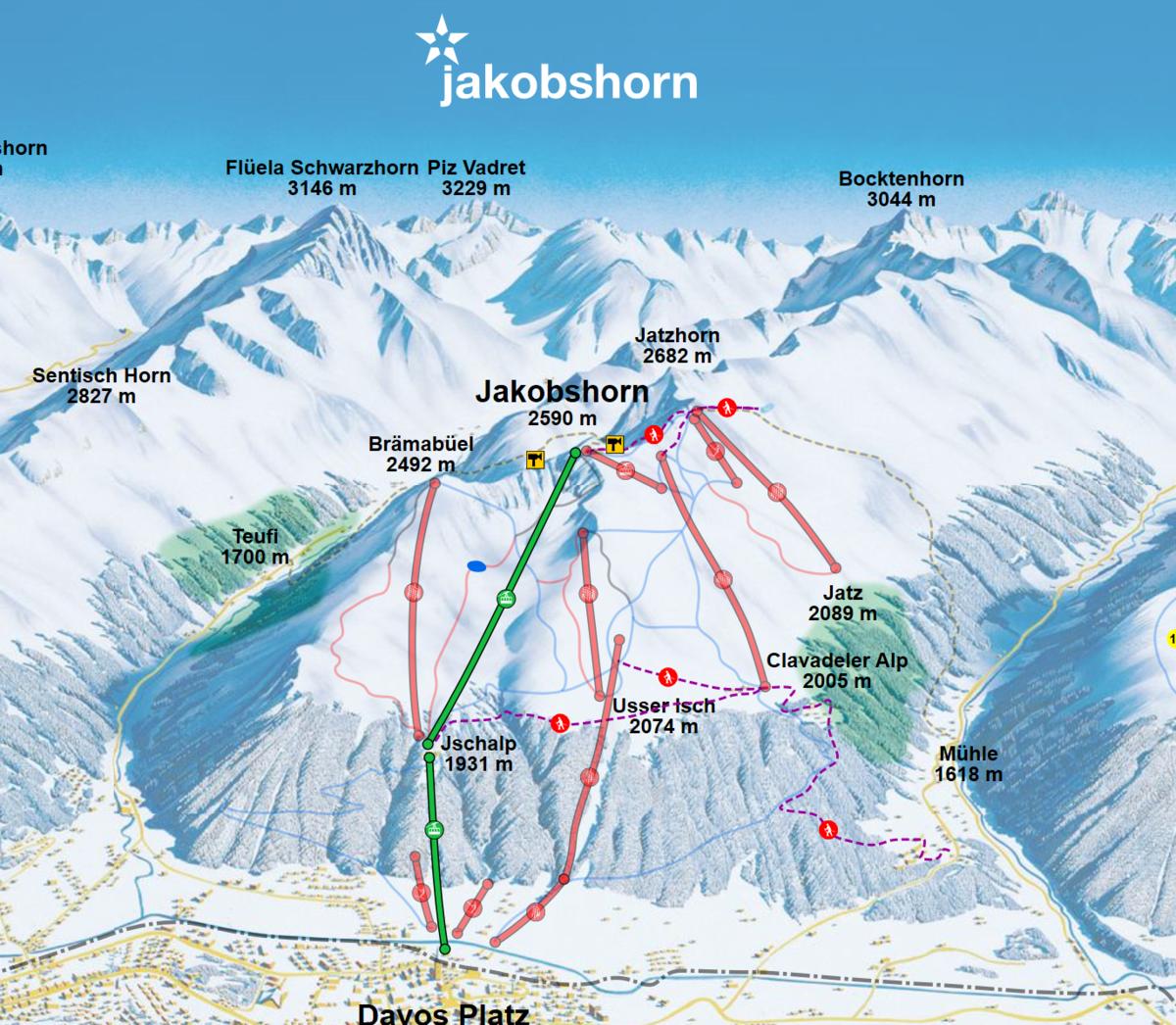 Jakobshorn スキーマップ