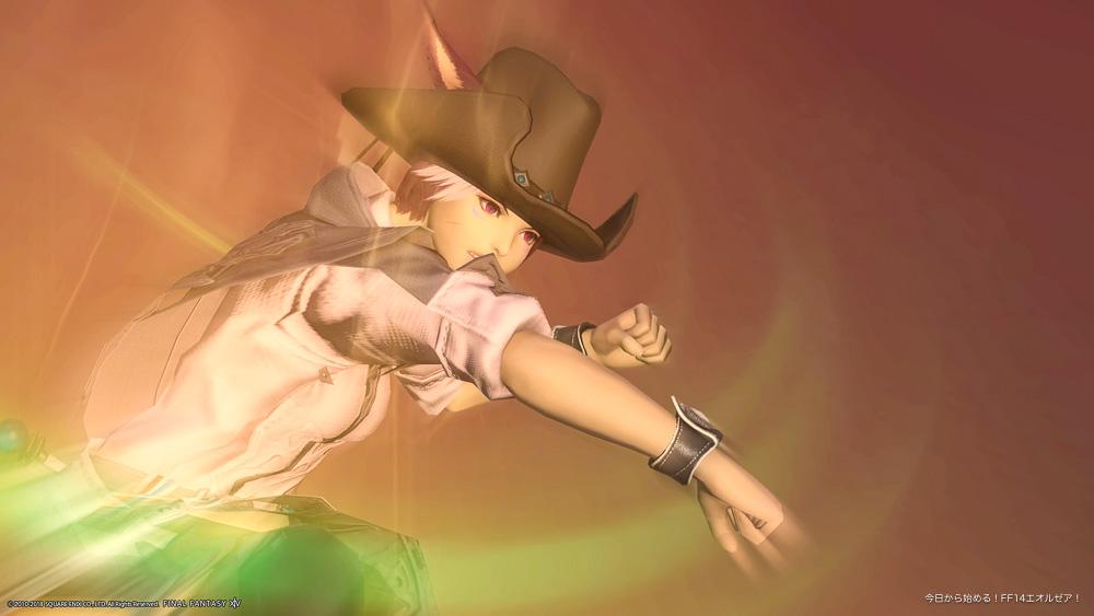 ミコッテ♀の攻撃の瞬間を撮影したスクリーンショット(FF14)