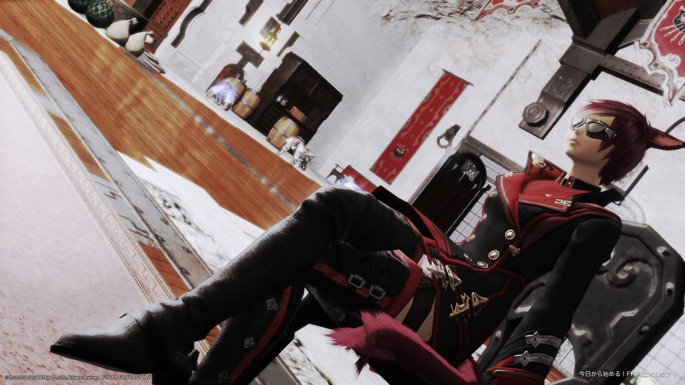 当ブログのオススメミラプリコーディネートである「黒渦団の小隊長コーデ」。(FF14)
