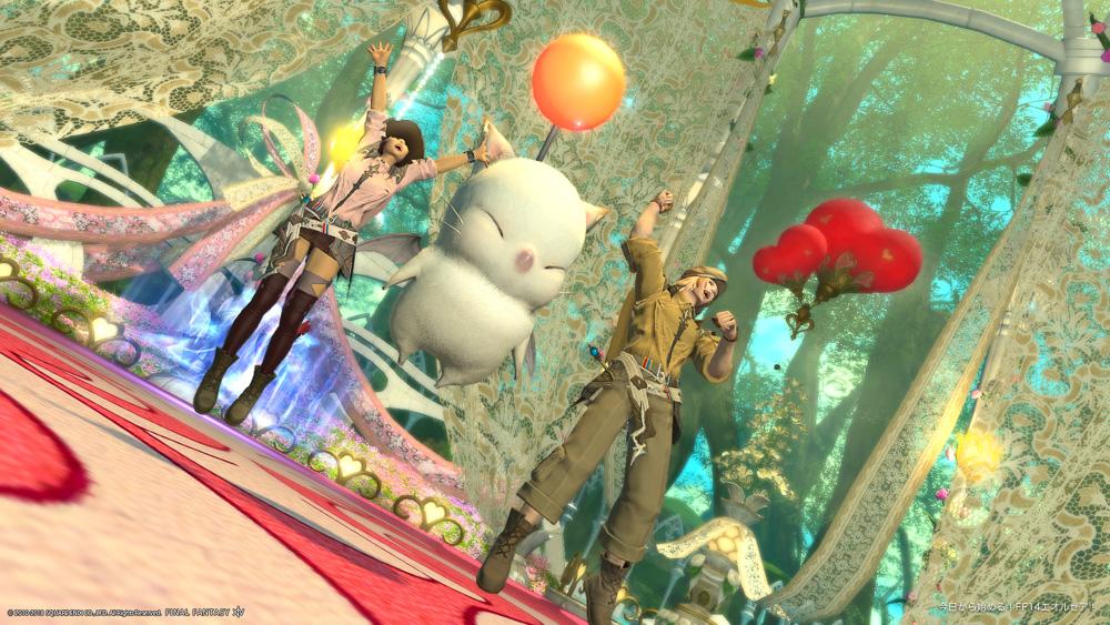 ミコッテ男女が、モーグリとともに大喜びしているスクリーンショット。(FF14)