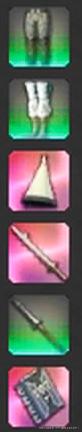 レアの色付き装備アイコン。グリーンとピンク。(FF14)