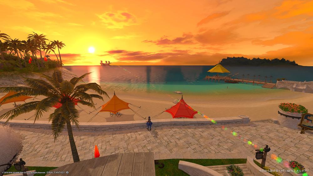 ハウジングエリア「ミストヴィレッジ」の浜辺近くから見る夕焼け。(FF14)
